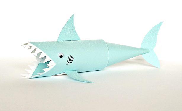 Impresionante tiburón con rollos de wc: manualidad reciclada