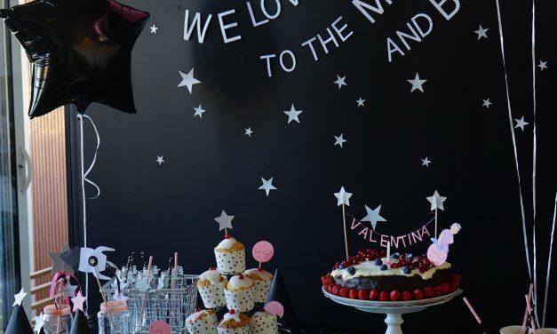 Fiesta de cumpleaños de bebé: rosa y negro