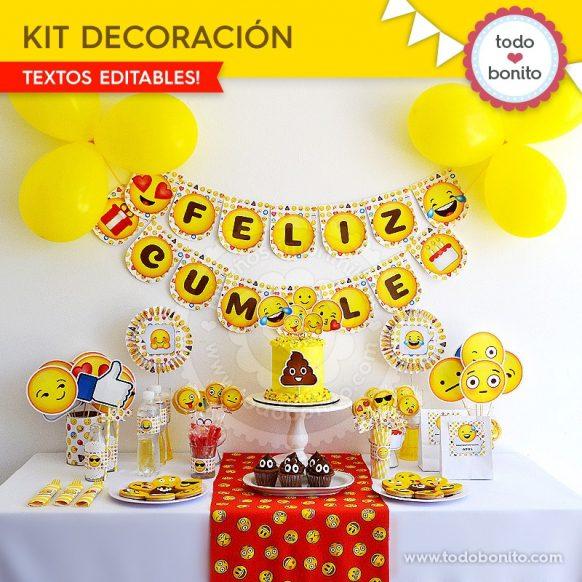 Kit imprimibles para fiestas temáticas infantiles: emojis y emoticonos