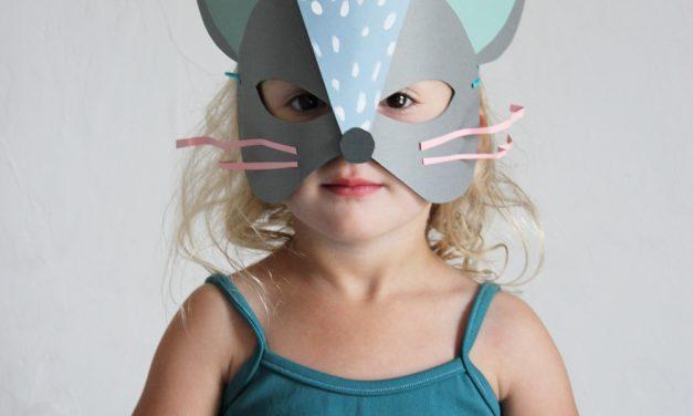 Máscaras de ratón y gato DIY con cartulinas de colores