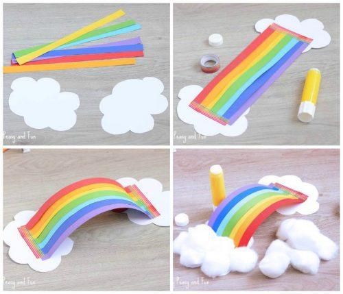 Nube De Arco Iris 3d Manualidades Infantiles Con Papel Fiestas Y