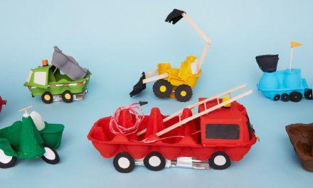 8 coches de hueveras de cartón: manualidades recicladas