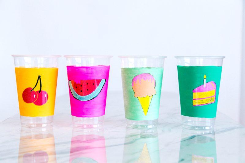 Decoración de platos y vasos para picnic: DIY con pinturas