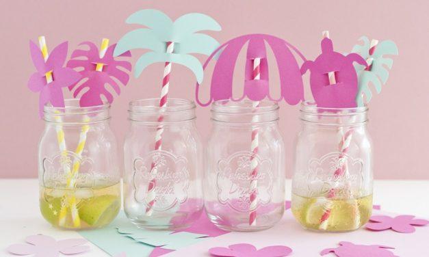 Ideas para decorar pajitas tropicales para fiestas de cumpleaños