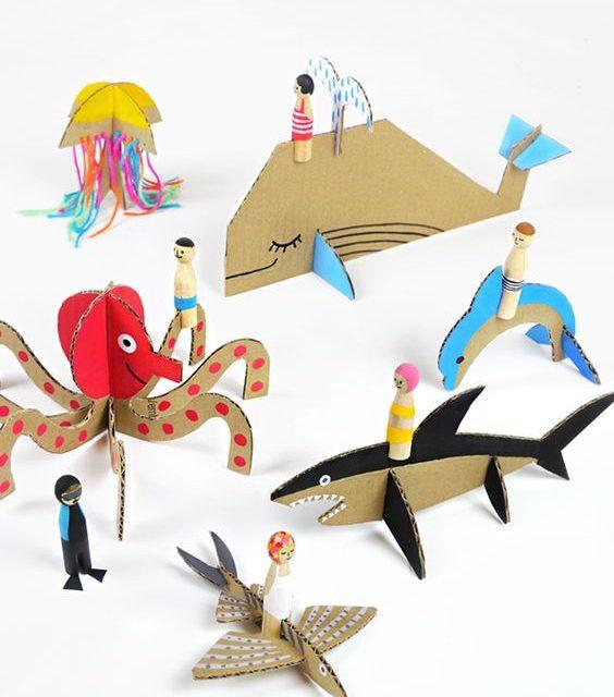 Criaturas de cartón: manualidades con niños