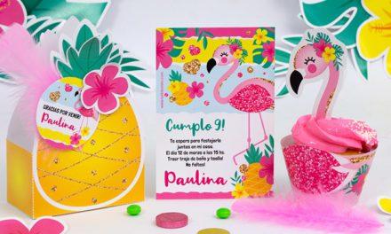 """Nuevos descargables para decoración de fiestas infantiles """"piñas y flamencos"""""""