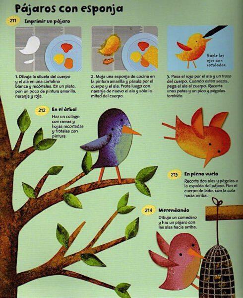 pájaros con esponja